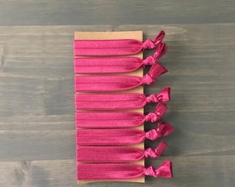 wine colored hair ties, set of 8 creaseless hair ties, ponytail holders, yoga hair ties, knotted hair ties, creaseless hair ties