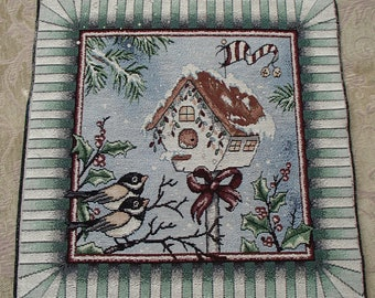 Christmas Holiday Winter Birdhouse Tapestry Panel