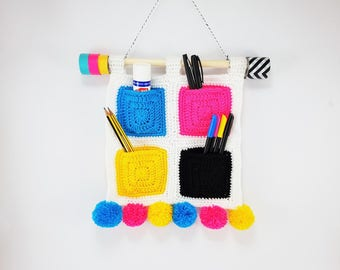 CMYK Hanging Organiser / Hanging Storage / Crocheted Organiser / With Pompoms / Handmade/ Useful / Cyan Magenta Yellow Black / Ready To Ship