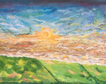 Sky  painting,sky clouds painting, color of the sky,large acrylic painting  of sky,Sun and sky painting,Sky clouds Painting ,