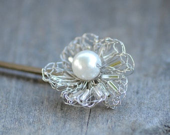 Classic Silver and Pearl Hair Pin in Wire Crochet