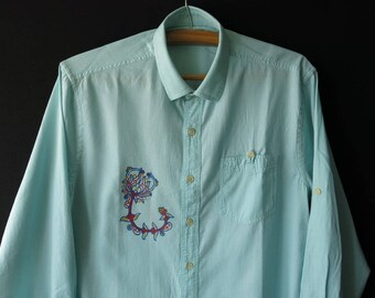 Men's hand painted turquoise shirt
