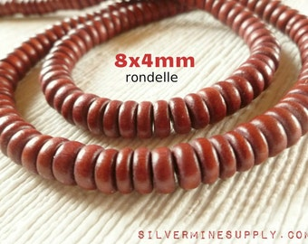 """Full 16"""" Strand Rust Brown Wooden Rondelle Beads 8mm x 4mm Jewelry Supply Wood Natural Rustic"""