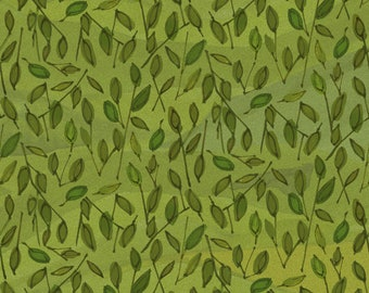 Green Leaf Fabric, Maywood Studio Quilter's Road Trip, 9193 G, Kathy Deggendorfer, Green Leaves Quilt Fabric, Cotton