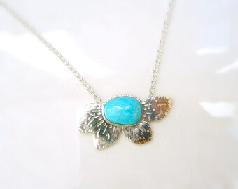 """Turquoise Daisy Necklace - Sterling Silver, Battle Mountain """"Blue Gem"""" Turquoise"""