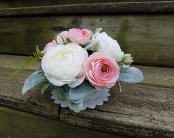 Rustic Country Wedding Blush Pink Rannuculus flowers,Lambs Ear,and Bowood Wedding Cake Topper