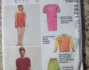 McCall 5821 Misses (Size Medium 14-16) dress or top, skirt and pants or shorts - for knits only.  Nancy Zieman.  Busy Woman's Sewing Pattern