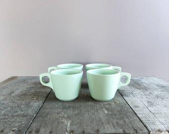 Set of 4 - Vintage Boonton Melamine Tea Cups / Mint Green Melamine Coffee Cups / Mid Century Retro Cups