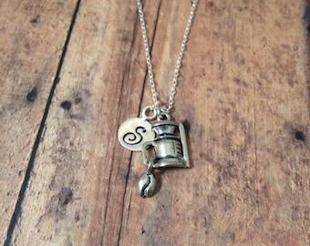 Coffee pot initial necklace - coffee jewelry, gift for coffee lover, coffee necklace, coffee maker necklace, silver coffee pot necklace