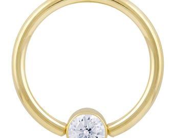 Cubic Zirconia Round Bezel 14K Yellow Gold Captive Bead Rings