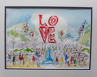 Philadelphia Love park By Joe Barker 16 x20 Original