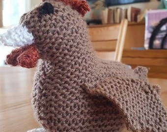 Knitted Chicken Stuffed Animal