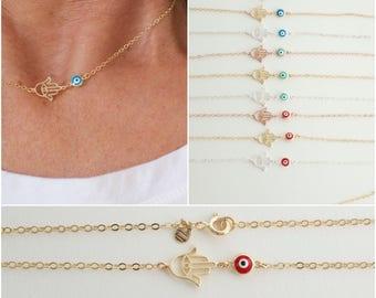 Hamsa and evil eye necklace  - new evil eye colors  - hand of Fatima necklace  - filigree hamsa necklace - greek jewelry