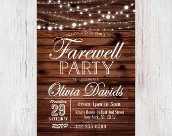 Farewell invitation etsy farewell invitation rustic farewell invitation farewell party invitation rustic farewell party invitation 189 stopboris Image collections