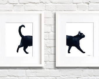 Black Cat Walking - Set of 2 Art Prints - Wall Decor - Watercolor Painting