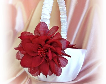 Weddings flower girl basket, red and white or ivory wedding basket.