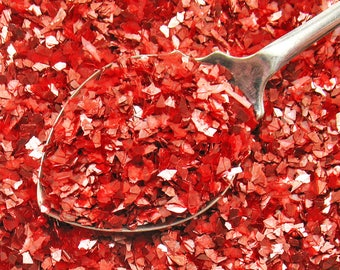 German Glass Glitter RED - Shards - 60 Grit - Flakes -  Vintage Style - 1 oz. Christmas Crafts