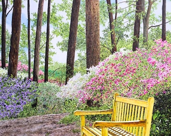 Forest Print - Yellow Bench - Woods Painting - Landscape Painting - Fine Art Print - Pink Purple Flowers - Nature Art - Matted Print