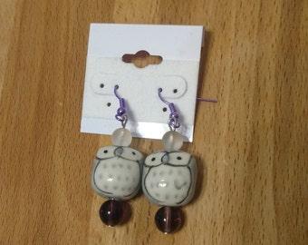 Gray ceramic owl dangle earrings