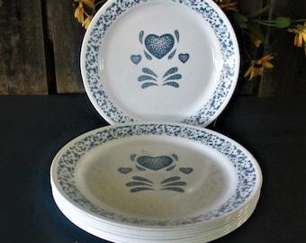 Corelle dinnerware Blue Hearts eight 10 inch dinner plates vintage