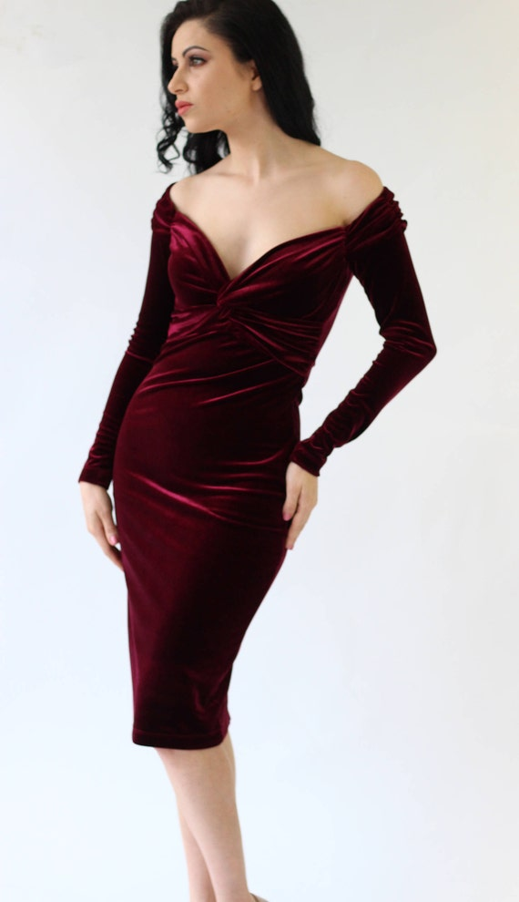 Cocktail dress burgundy velvet dress midi dress evening