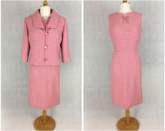 New pink dogstooth check dress and jacket based on a vintage 1960's pattern