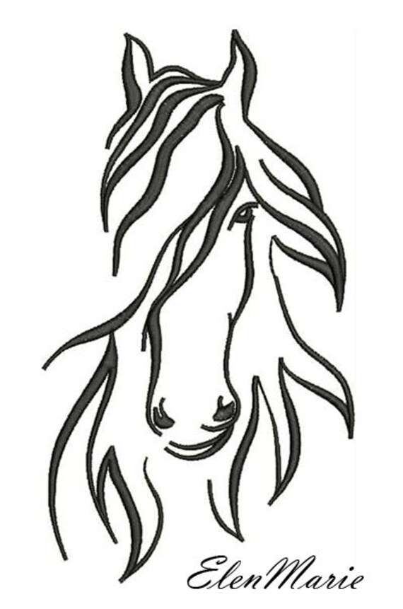 AH 010 Horse Machine Embroidery Design four sizes