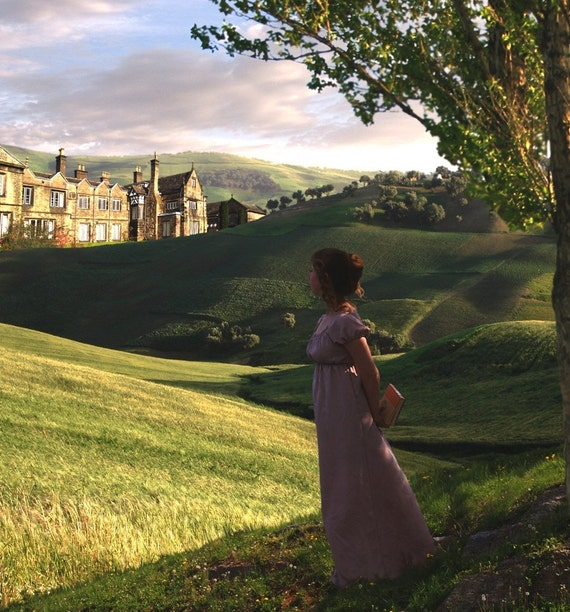 Jane Austen Art, Elizabeth Bennet Regency Portrait at Pemberley 5x7 Photo Collage Print