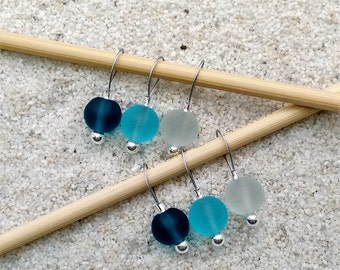 Beach Sea Glass Knitting Stitch Markers - snag free 8mm round turquoise teal blue glass beads - set of 6 9 12 - two loop sizes