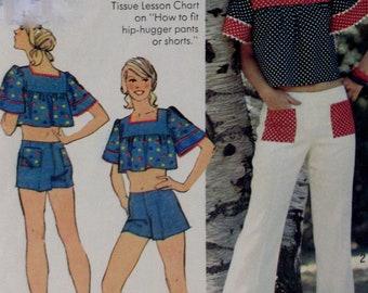 Vintage Simplicity 1974  Juniors  Wide Leg Hip-Hugger Pants or Shorts, Midriff Top 6280  Size 14  UNCUT