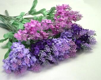Artificial lavender Purple lavender Wedding flowers Artificial bouquet Pink flowers Outdoor wreath Flower garland Faux lavender Home decor