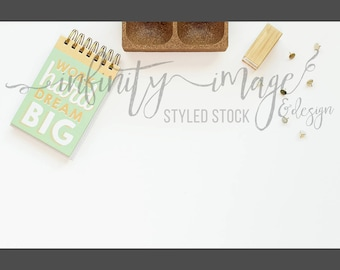 White Horizontal Styled Stock Product Photography Background w/Green & Brown Notebook, Journal, Pen, Stapler / High Res File #INF105SS