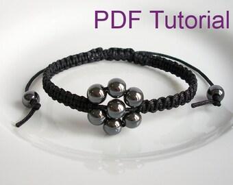 PDF Tutorial Beaded Flower Square Knot Macrame Bracelet Pattern, Instant Download Macrame Bracelet Tutorial, DIY Friendship Slider Bracelet