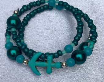 Turquoise Girls Anchor Bracelet / Teen Girls Turquoise and Black Anchor Bracelet / Yoga Anchor Bracelet / Boho Turquoise Anchor Bracelet  /