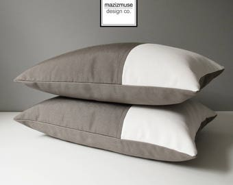 Taupe & White Outdoor Pillow Cover, Modern Color Block Pillow Cover, Decorative Throw Pillow Cover, Taupe Sunbrella Cushion Cover, Mazizmuse