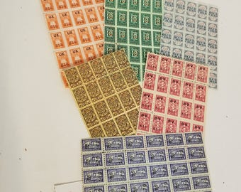o Vintage paper supplies 6 sheets with 150 trading savings stamp sample pack green orange yellow red blue scrapbook altered art