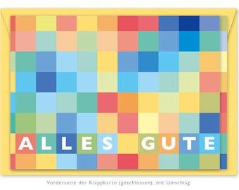 Greeting Card: Squares Colorful & Envelope