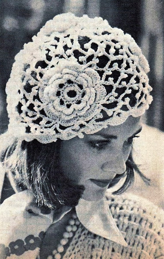 Crochet Vintage Lace Cloche Style Hat Crochet Irish Rose Lace