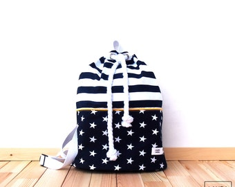 Seaworthy cotton backpack with stripes and star waterproof liner/stripe & stars DrawString Cotton backpack Waterproof interior
