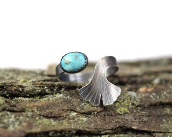 Turquoise Ginkgo Leaf Ring - Size 6-8 - Adjustable Gemstone Ring in Sterling Silver - Botanical Ring - Ginkgo Ring - Ginkgo Jewelry
