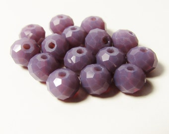 D-00853 -  20 Faceted Glass Rondelle beads 6x8mm