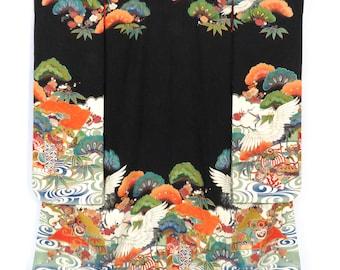 Vintage Hiki-Furisode / Hitokoshi-Chirimen / Pine / Crane / Hand Embroidered / Hand Painted / Yuzen / Before WWII / D1