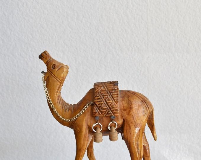 hand carved wooden camel llam figurine / caravan