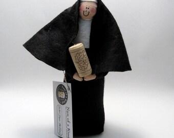 Wine loving nun doll sister doll Catholic gift