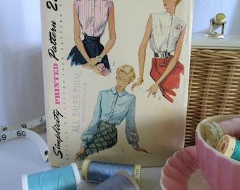 50s Pattern, Vintage Pattern, Top Pattern, Sleeveless Shirt Pattern, Shirt Pattern, Ladies Shirt, Vintage, Pattern, Simplicity, 50s, 3092