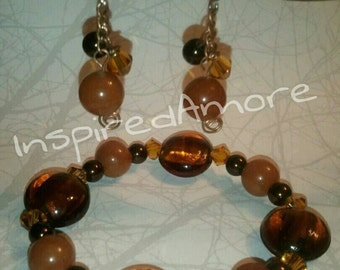 Shades of Brown, Fall Bracelet, earring set