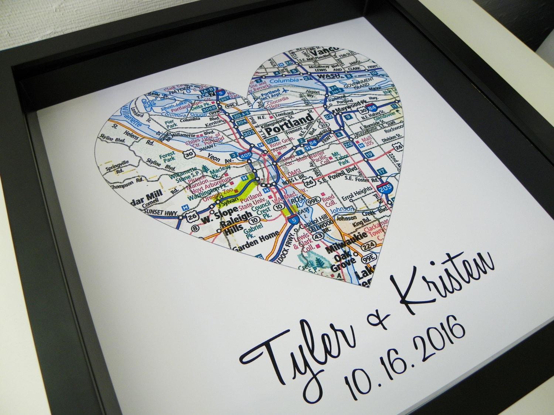 Wedding Gift For Destination Wedding: Destination Wedding Gift City Map Heart FRAMED Art Print