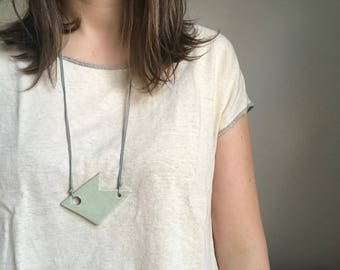 Geometric Ceramic Necklace with Waxed Cotton Cord