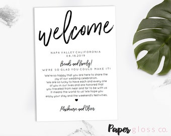 Wedding Welcome Bag Note, Welcome Bag Letter, Printable Wedding Itinerary, Agenda, Instant Download, Editable Template, Calligraphy