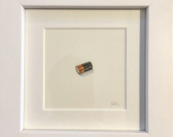FRAMED Miniature Painting of a battery by Brooke Rothshank